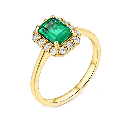 AtHomeShop Real Gold Collection, 18K Yellow Gold Rings, Rectangle Engagement Rings with Shiny Emerald Green Shape Emerald and Diamond Marriage Proposal Ring for Anniversary Wedding Engagement gold