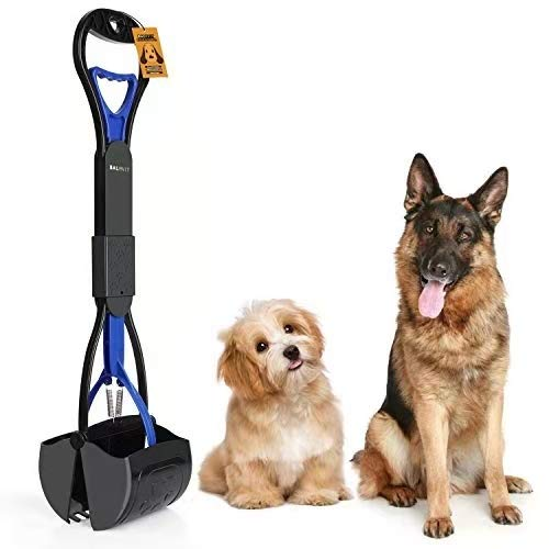 Balhvit Non-Breakable Pet Pooper Scooper for Dogs, Portable Dog Pooper Scooper with Long Handle & High Strength Durable Spring, Foldable Dog Poop Waste Pick Up Rake, Jaw Claw Bin for Grass and Gravel
