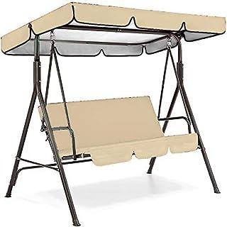 Patio Swing Cushion Cover Set 420D Waterproof - Swing Canopy Replacement Cover + Swing Cushion Cover for 3 Seater Swing Ou...