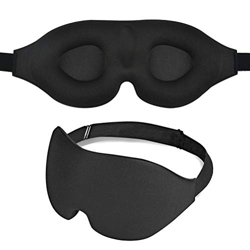 Soft Lycra Material Sleeping Eye Mask, 3D Contoured Cup Sleep Mask & Blindfold,100% Black Out Light Sleeping Mask for Travel, Nap, Yoga, Meditation