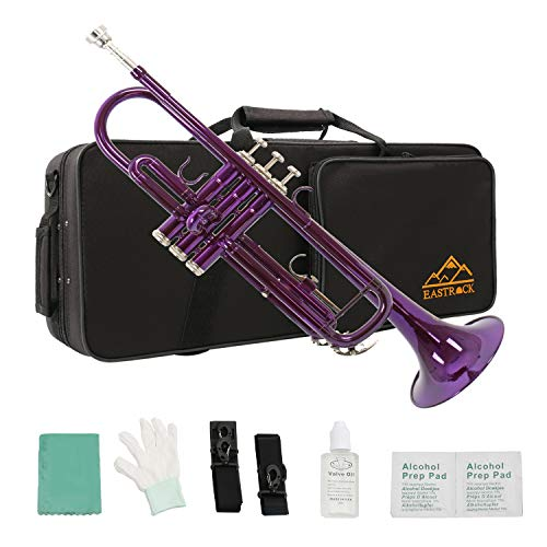Eastrock Standard Bb Trumpet Brass Set for Student Beginner Brass Instrument with Hard Case, Gloves, 7C Mouthpiece and Trumpet Cleaning Kit (Purple)