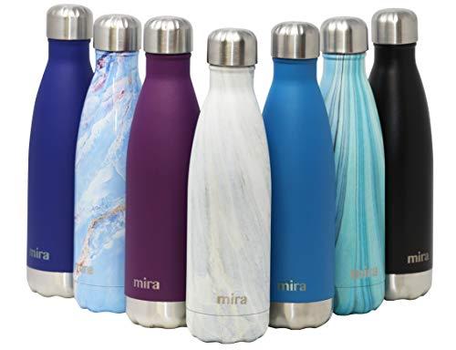 MIRA 500ml Vakuum Isolierte Edelstahl Trinkflasche | Schlanke auslaufsichere doppelwandige Flasche | Hält Getränke 24 Stunden lang kalt & 12 Stunden warm (Weißer Granit, 500 ml (17 oz))
