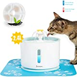Showyou Cat Water Fountain, 80oz/2.4L Water Level Window with LED Light Automatic Flower Pet...