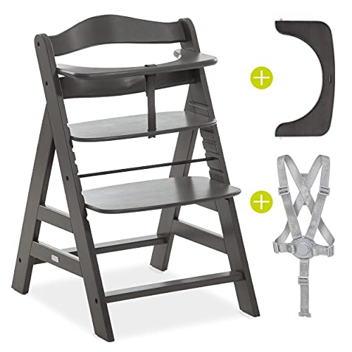 Hauck Hochstuhl Alpha Plus inkl. Gurt und Sicherheitsbügel - Mitwachsender Holz Kinderhochstuhl/Treppenhochstuhl - Dunkelgrau Charcoal