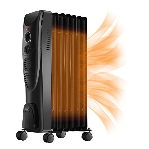 RMYHOME Space Heater Oil Filled Radiator Heater with Adjustable Thermostat, 1500W Portable Heater with 3 Heat Settings, Overheat and Tip Over Protection with Knobs for Home & Office, Black