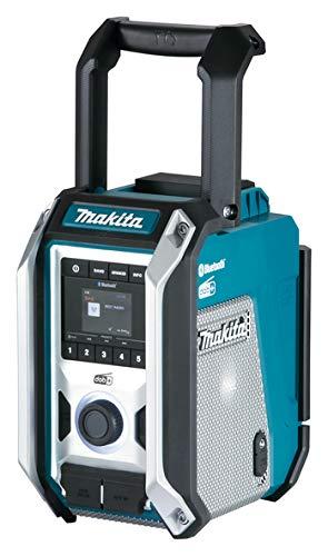 Makita Akku-Baustellenradio DMR 115 DAB/DAB+/Bluetooth für 10,8-18 Volt Akkus/230 Volt mit Subwoofer auf der Gehäuseunterseite