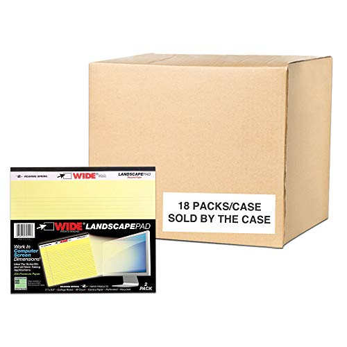 Roaring Spring Wide College Ruled Landscape Legal Pad, 1 Case (18 Total Two Packs), 11' x 9.5' 40 Sheets, Canary