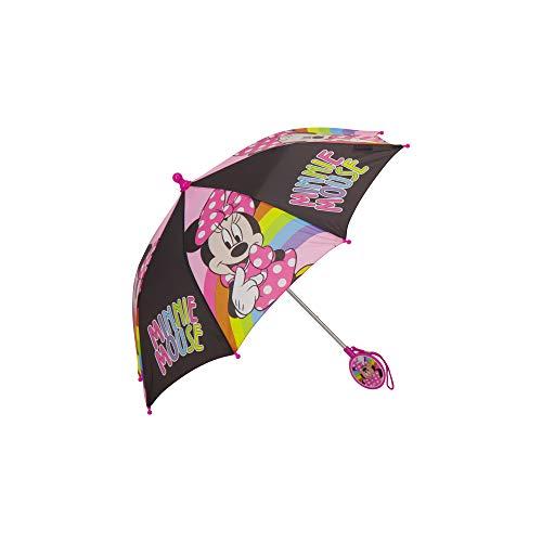 Disney Minnie Maus Kinder Regenschirm, Alter 3–7 Jahre, Schwarz/Pink