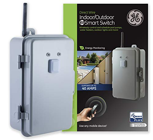 GE Z-Wave Plus 40-Amp Indoor/Outdoor Metal Box Smart Switch, Direct Wire, 120-277VAC, for Pools, Pumps, Patio Lights, AC Units, Electric Water Heaters, 14285