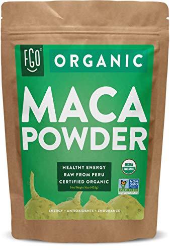 Organic Peruvian Maca Root Powder   Perfect for Smoothies, Baking, Energy   Raw From Peru   Non-GMO, USDA Organic   16oz Resealable Kraft Bag (1 Pound)   by FGO