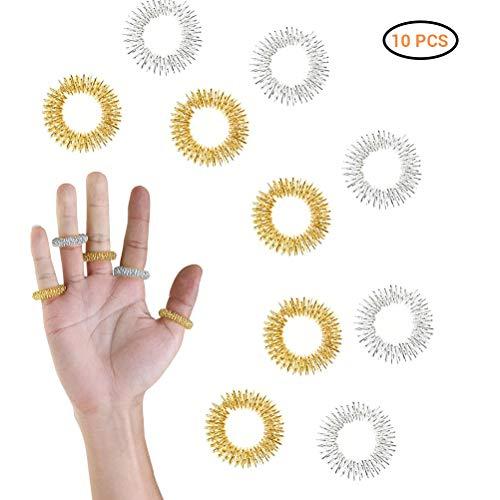 10PCS Gold-und Silber-elastischer Finger Massager für Langzeit Computer-Anwender Senioren Massagezubehör