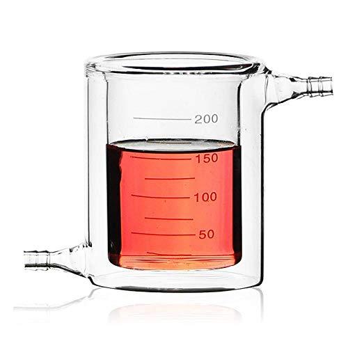 CJIANHUA Vaso de Vidrio Chaqueta 200 ml Laboratorio Vaso de precipitados de Vidrio borosilicato 3.3 con Camisa Copa Laboratorio de Química cristalería (Size : 200ml)