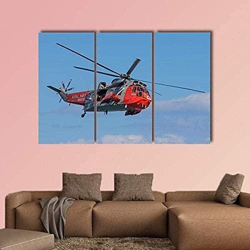 hmmsw 5 Pezzi Pittura su Tela Modulare Tela Pittura Immagine Ricerca E Soccorso Elicottero Pittura Immagine Poster Pittura Murale-3