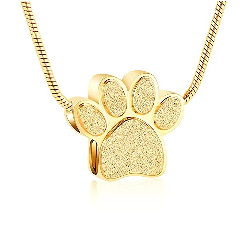 Wxcvz Colgante para Conmemorar Collar De Urna De Cremación con Estampado De Pata Dorada para Perro/Gato De Cenizas De Acero Inoxidable Colgante Conmemorativo