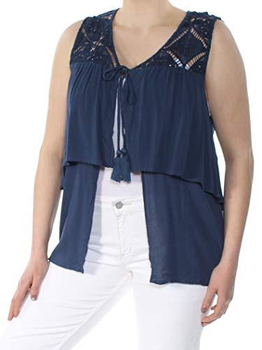 August Silk Womens Lace Mixed Media Dress Top Blue XL