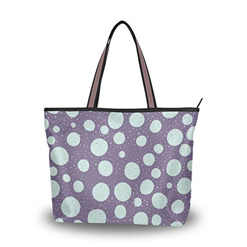 NaiiaN Bolsos de mano, bolso de mano, bolsos de hombro, correa liviana, patrón de puntos gris púrpura, para mujeres, niñas, señoras, monedero para estudiantes, compras
