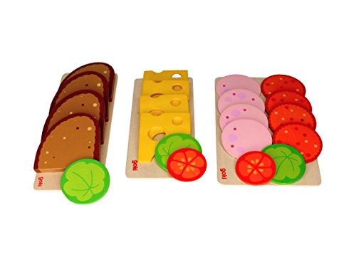 Bambilino Goki brödskivor, korvskivor och ostsnitt, med sallad och grönsaksunderlägg, set bröd, korv, ost för köpmansbutik och lekkök