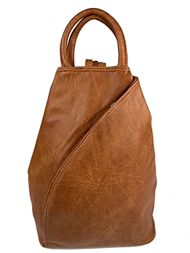 kennydoo Zaino da donna HOGGI I Backpack e Sling Bag in 1 Borsa a tracolla I Zaino I City, marrone, M