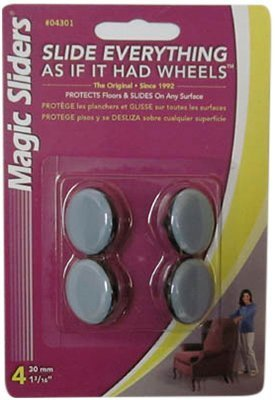 Magic Sliders 04301 1-3/16-Inch Furniture Glide Round Nail On Sliding Disc 4 count by Magic Slider