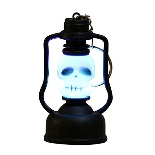 Avmy Decoración de Halloween Linterna Luz con Capucha Lámpara de Calavera aterradora LED Lámpara de luz de Calabaza de Halloween Hogar Jardín Fiesta al Aire Libre, 8x4cm
