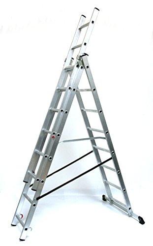 Alu-Schiebeleiter 3x8 Stufen/Sprossen, Arbeitshöhe: 5,8m, 220x41x17, Aluminium, Marke: Szagato (Mehrzweckleiter/Stehleiter, Anlegeleiter, Aluleiter, Kombileiter, Leiter)