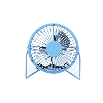 USB Desk Fans Mini Metal Fan,Portable Cooling Fan,Silent Cooling Fan for Laptop PC Plug and Play Edition Aluminum 4 inch Blue