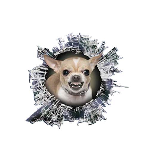 GDYL Pegatinas De Coche, Accesorios Interesantes para Pegatinas De Coche, Calcomanía De Chihuahua con Gruñido 3D, Escoria De Cristal, Ventana De Coche Animal Impermeable, PVC 13Cm X 12Cm