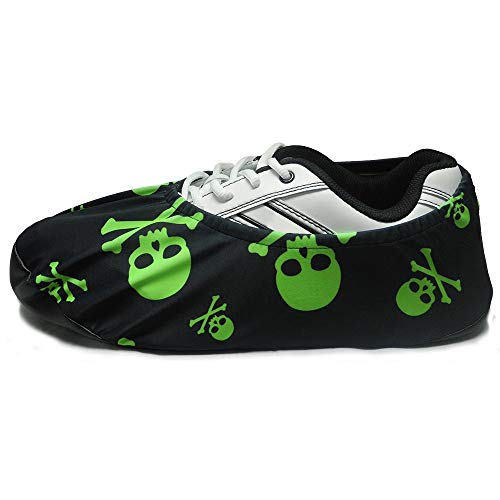 bowlingball.com Premium Bowling Shoe Protector Covers (X-Large: Fits Mens Size 10-15, Lime Green Skulls)