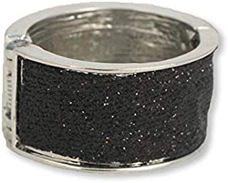 Mia Tony Pony, Beautiful Metal Ponytail Cuff Hair Accessory, Shiny Silver W/Pretty Black Glitter Center Band, For Women And Girls 1 pc