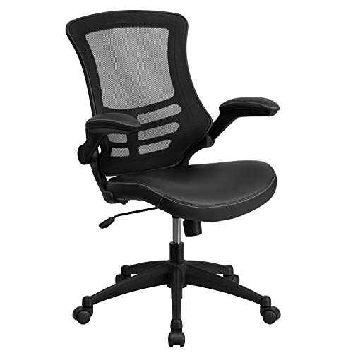 Flash Furniture Desk Chair with Wheels | Swivel Chair with Mid-Back Black Mesh and LeatherSoft Seat for Home Office and...