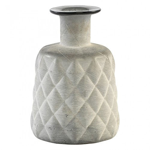 Vase décoratif bouteille en verre Moony gris avec col rond - Taille moyenne : 17 x 13 x 13 cm