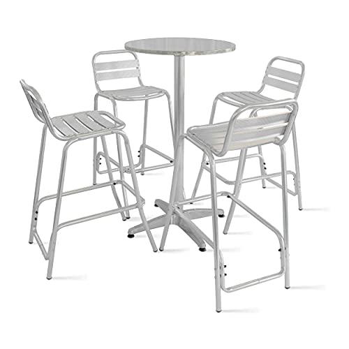 Oviala Table de Jardin Haute et 4 tabourets Gris Rond 60 x 110 cm Aluminium 4 Places Soho