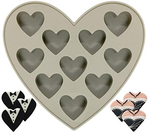 Gris Corazón Molde de silicona 10Cavidades Antiadherente para Chocolate, tartas, pudín, jabón
