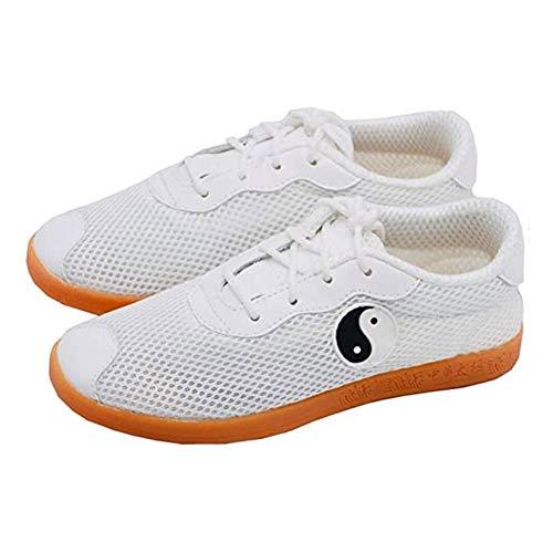 Kampfsport Sneaker Boxen Karate Kung Fu Tai Chi Schuhe schwarz Streifen Turnschuhe Leichte Schuhe for Männer Frauen Erwachsene Kinder Taekwondo Schuhe (Color : White, Size : 46)