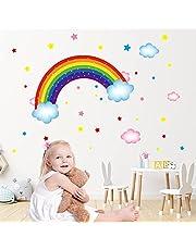 Regenboog en Wolken Kinderen Muurstickers,Regenboog Muurstickers,Muur Sticker Meisje Muur Sticker Hart Kwekerij Deco Sticker