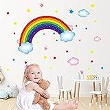 Arcoiris y nubes Vinilo Pegatinas,Infantiles Arcoíris Pegatinas,diseño de arcoíris con nubes y estrellas,Extraíble Estrellas Dormitorio Salón Guardería Habitación Infantiles Niños Bebés