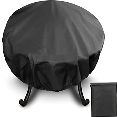 AUPERTO Round Fire Bowl Cover - Waterproof, Windproof, UV Resistant Fire Pit Covers with Drawstring for Outdoor Round Patios Fire Pit by AUPERTO