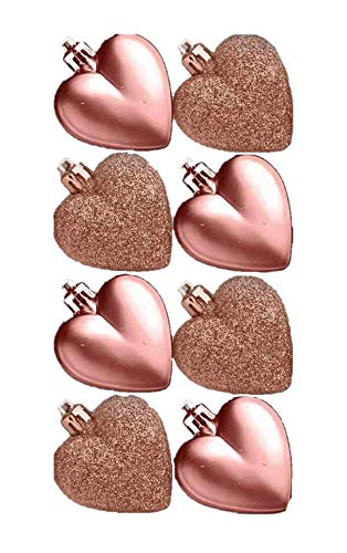 Toyland Pack of 8-5cm Rose Gold Heart Baubles - Matte and Glitter- Christmas Tree Decorations