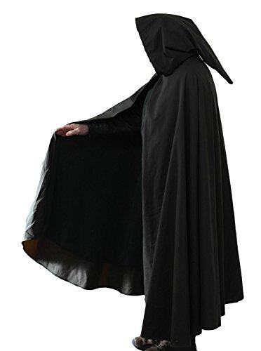 Capa de algodón encerada impermeable rústica negra Legoslas/Señor de los Anillos/Pagan/Larp