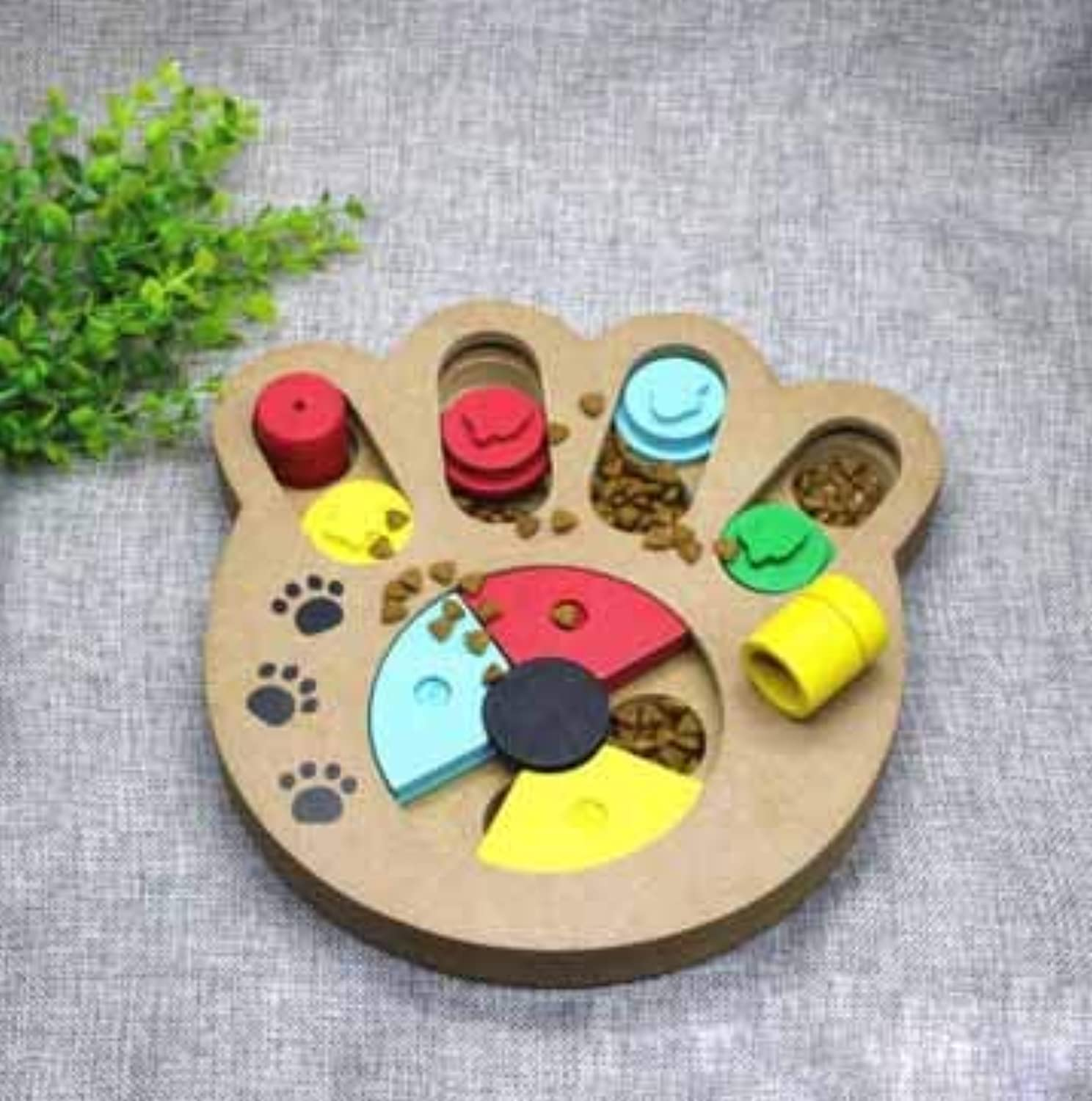 Pet Food Bowl Dog Bowl Fun Puzzle Food Bowl Toy Green Wood Food Bowl Utensils Slow Food Antimite (Style   Claw Type)