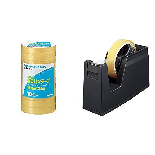【セット買い】コクヨ セロテープ 大巻き 工業用 T-SK18N & テープカッター カルカット 黒 T-SM100D