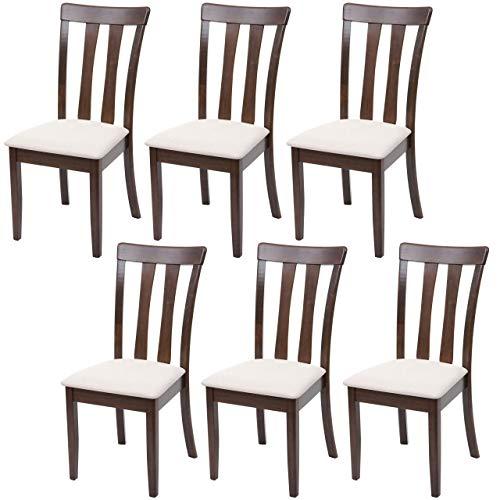 Mendler Set 6X sedie Cucina HWC-G46 Legno massello Struttura Scura Cuscino Beige
