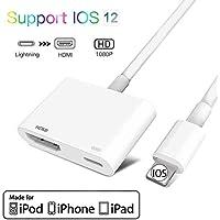 Adaptador HDMI para teléfono, adaptador AV digital 1080P, compatible con iPhone XS/XR/X/8/7/6/5 Series/Pad Air/Mini/Pro, compatible con iOS 12 antes