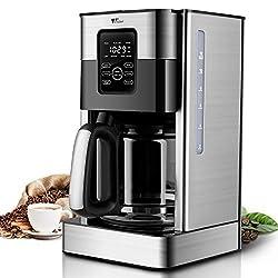 amzdeal Kaffeemaschine, Filterkaffeemaschine mit Glaskanne, permanentem Filter & Touchscreen für 12 Tassen, Programmierbarer Kaffeemaschine mit Warmhalten & Anti-Tropf Funktion, 1,8L, 1000W, Edelstahl