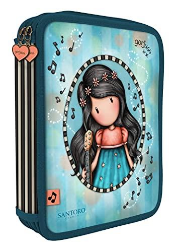 SANTORO Estuche Escolar Doble Grande con 46 Piezas Gorjuss This One's For You, 181x232x40 mm, Turquesa