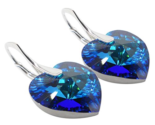 GIFT BOXED! Ah! Jewellery Luxurious Hand Crafted Enchanting 14mm Bermuda Blue Heart Genuine Crystals From Swarovski, Sterling Silver Earrings. Exceptional Must Have! Stamped 925.