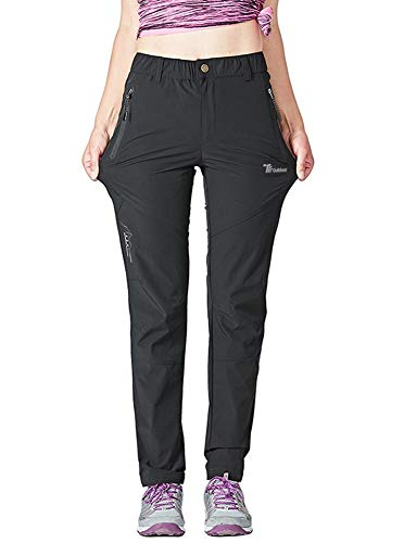 Rdruko Women's Outdoor Lightweight Quick Dry Sportswear Water Resistant Hiking Pants with Pockets(Black, US L)