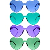 Gejoy 4 Pieces Heart Shaped Rimless Sunglasses Transparent Frameless Glasses Tinted Eyewear for Women and Girls Party Cosplay (Lake Blue, Blue, Green, Purple)