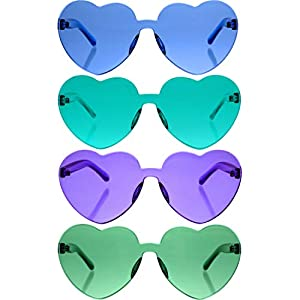 4 Pieces Valentines Heart Shaped Rimless Sunglasses Transparent Frameless Glasses Tinted Eyewear for Valentines Party Cosplay