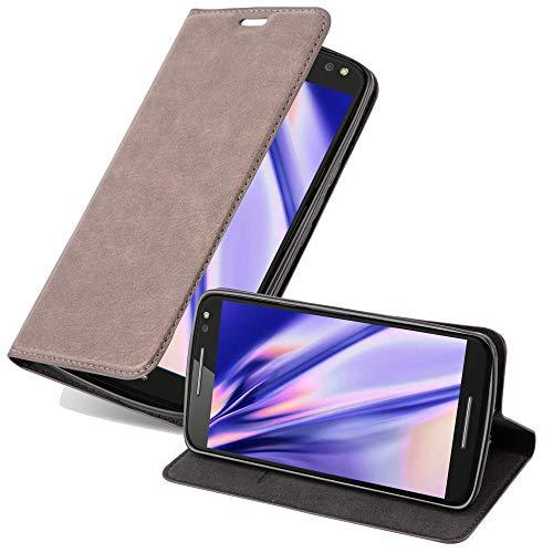 Cadorabo Hülle für Motorola Moto X Style in Kaffee BRAUN - Handyhülle mit Magnetverschluss, Standfunktion & Kartenfach - Hülle Cover Schutzhülle Etui Tasche Book Klapp Style